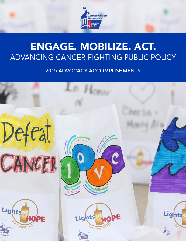 Image of Lights of Hope bags from the American Cancer Society Cancer Action Network's 2015 Advocacy Accomplishments Report