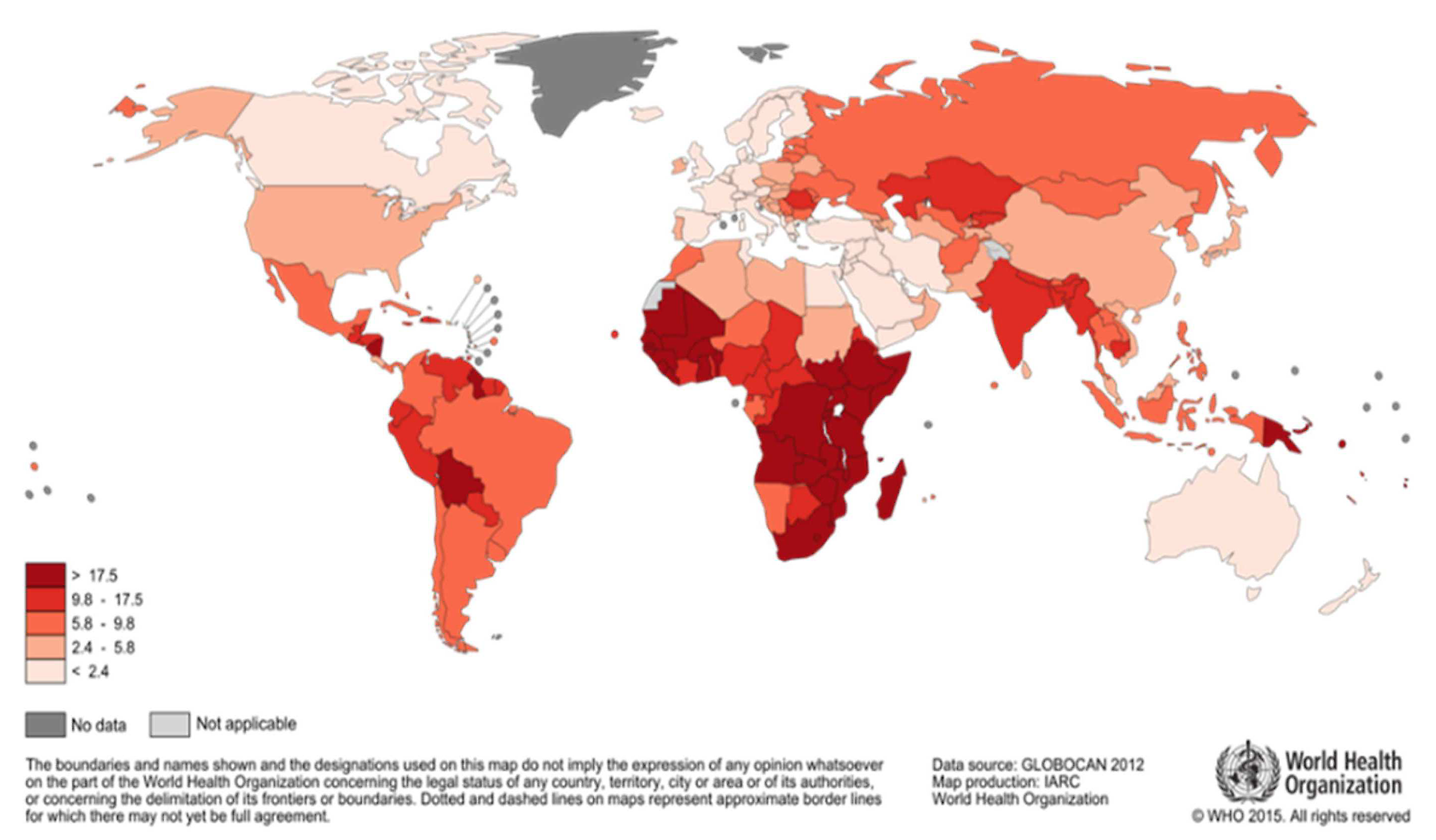 Image of a map showing the estimated cervical cancer mortality worldwide in 2012
