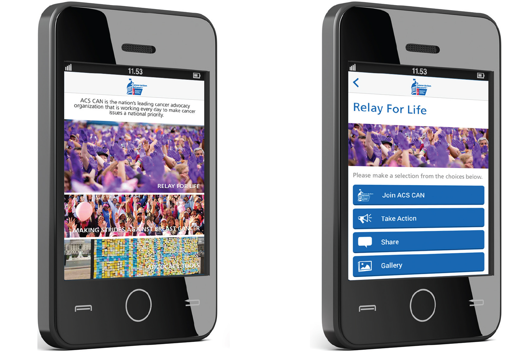 Image of Relay for Life Advocacy App work on an iPhone