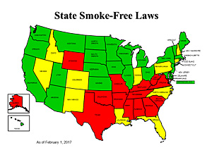 Image of map which reflects the status of smoke-free laws across the country