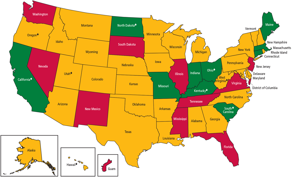 Image of a United States Map Detailing Medicaid Coverage of Tobacco Cessation Treatments (Traditional Medicaid)