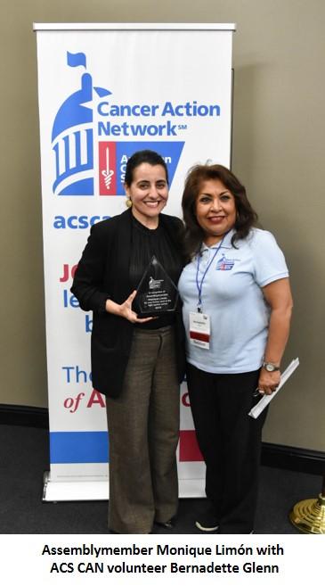 Assemblymember Monique Limón with ACS CAN volunteer Bernadette Glenn