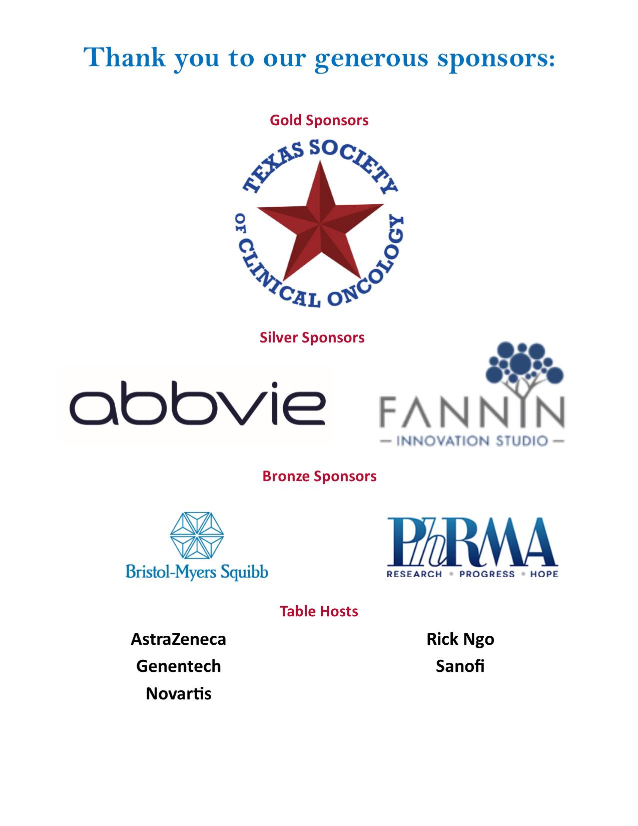 Texas Research Breakfast sponsors 2019
