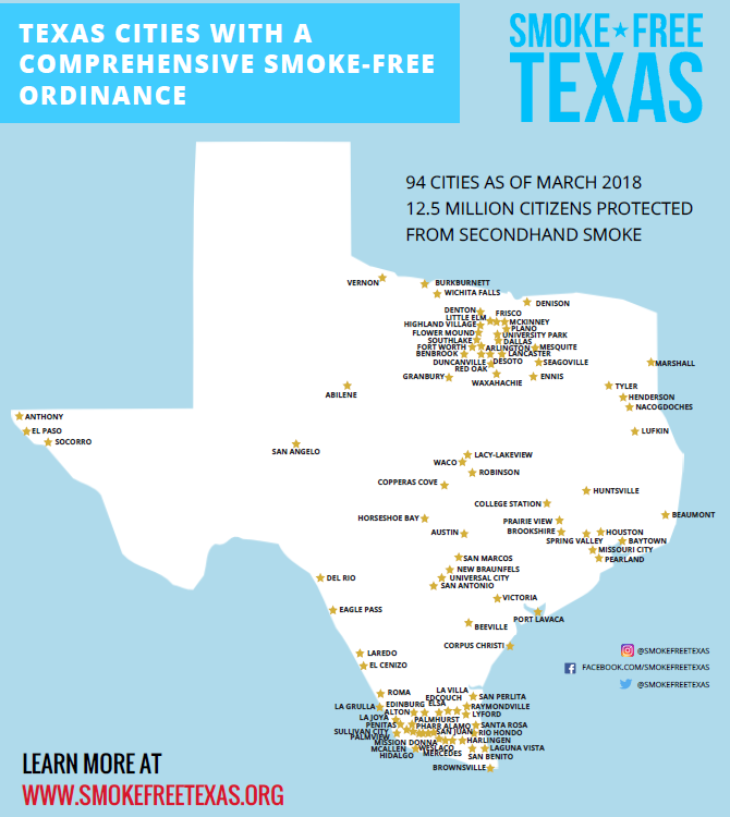 Texas Smoke Free cities 4.1.18
