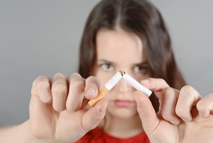 Photo of a woman smoking
