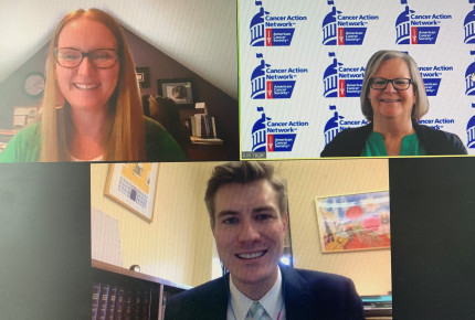 ACS CAN volunteer meets virtually with Sen. Jen Day's staff