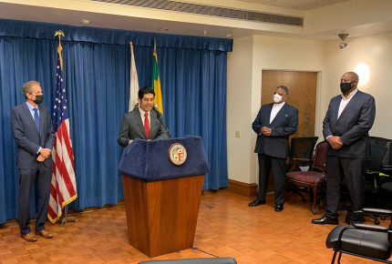 ACS CAN Government Relations Director Primo Castro speaks during a news conference to urge the L.A. City Council to end the sale of all flavored tobacco products.