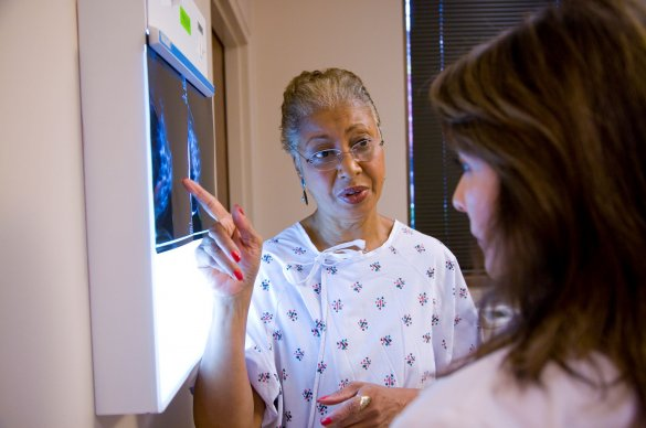 Woman discussing a mammogram with her physician.