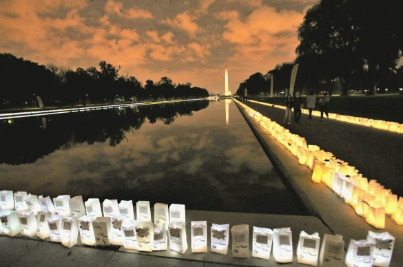 Lights of Hope bags line the Reflecting Pool.
