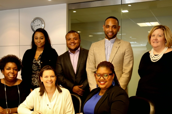 Photo of National Black Justice Coalition Staff and ACS CAN staff signing partnership papers.