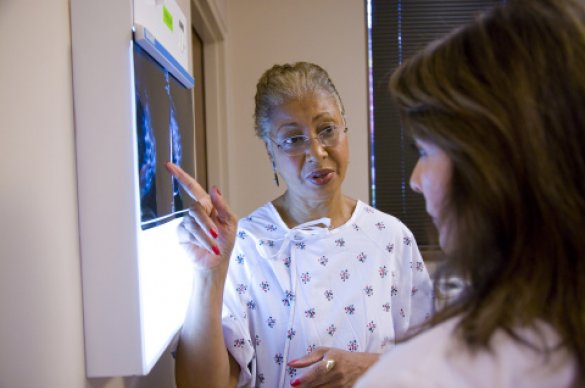 Women discussing mammogram results with her physician.