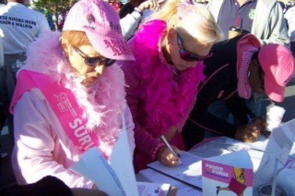 Volunteers wearing pink