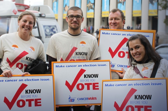 Photo of ACS CAN Volunteers participating in a  Cancer Votes event