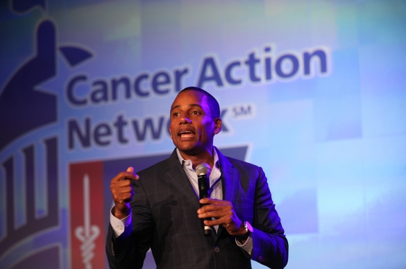 Photo of Hill Harper Speaking at ACS CAN Leadership Summit and Lobby Day event