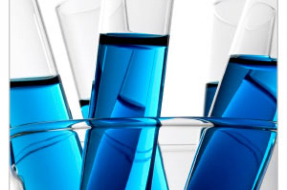 Blue solution in test tubes