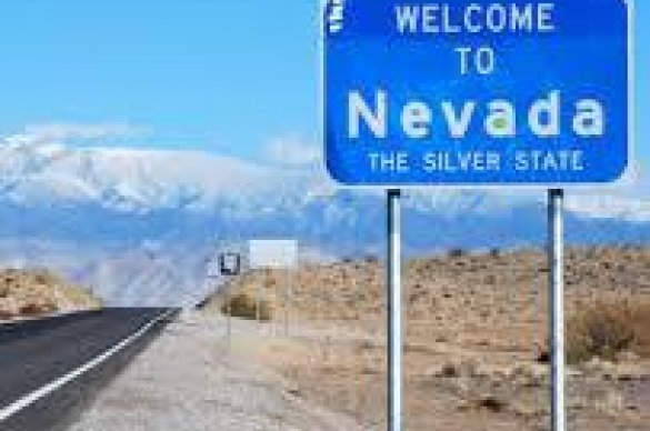 Sign welcoming drivers to Nevada