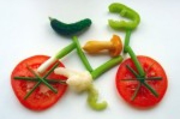Vegetables in shape of bicycle