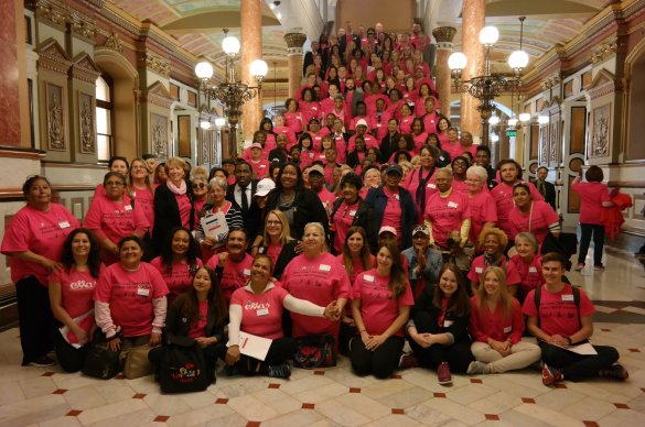 Volunteers at the state capitol in Springfield Illinois