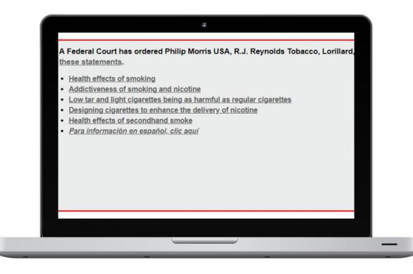 Tobacco company corrective statements