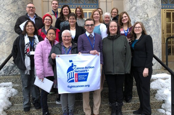 2019 Cancer Action Day Volunteers on the Capitol Steps in Juneau