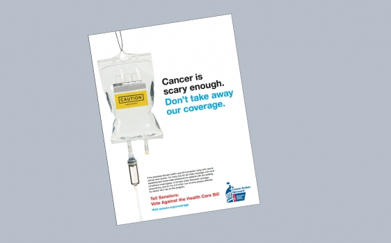 Image of American Cancer Society Cancer Action Network Ad which encourages lawmakers to develop policies that foster a strong health insurance market, providing affordable and comprehensive coverage options for those with serious illnesses like cancer