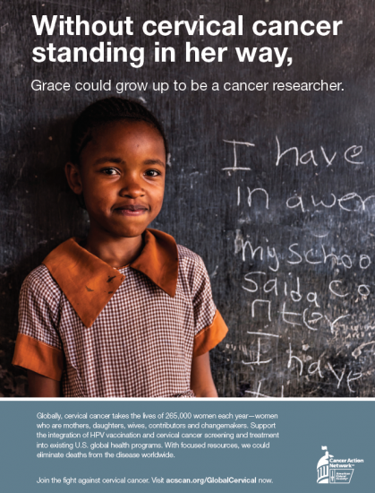 Without cervical cancer standing in her way, Grace could become a cancer researcher.