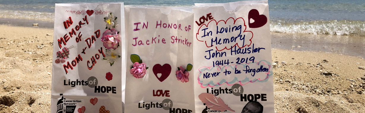 Lights of Hope displayed on a beach