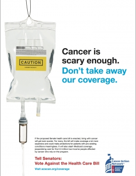 Image of Print Advertisement that asks Senators to Vote Against the Health Care Bill