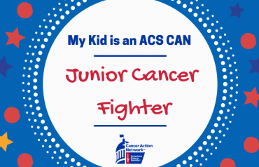 My kid is an ACS CAN Junior Cancer Fighter social media share graphic